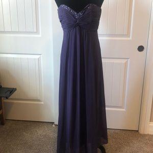 David's Bridal purple full length dress